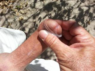one of my many times of stroking and cumming outdoors. It\'s such a nice feeling and I love to fuck in the sun