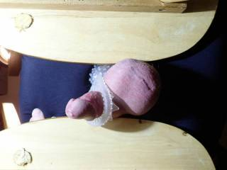 """Impromptu """"miking table"""", I got excited and started thrusting, but that messed up the shot.  I got lucky though and was still able to catch the aftermath though. I\'ll try more if liked. Send MSG if you want to see cum dripping off chair."""