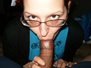 I think good girl nice cock.  I'd suck it too. K