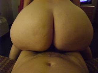 "A delicious 47"" round meaty white ass seating and riding over my cock"