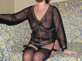 My cock is twitching!! Love the stockings and sheer top.!!!