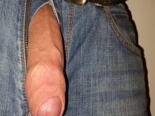 well hung uncut big veiny uncut cock hanging out of jeans