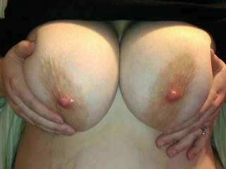 Oh damn those are beautiful....she has amazing tits, those big nipples like nibbles?
