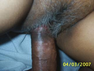 Would love to replace his cock with my tongue!! Love that pussy hair!! Great Pic!! Thanks!!