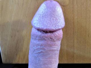 laying my cock out on the table after I oozed precum