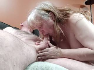 My man exploded in my mouth. Ohh... How I love cum! Some of it dribbled down his beautiful cock, but I made sure that was slurped up quickly. My video will prove it.