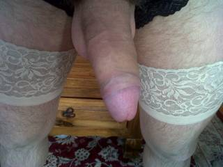 All dressed up in GF\'s sexy stockings & panties! she loves me fucking her dressed up in her own lingerie xx feels so damn horny! love to come fuck you wearing yours ladies!!!! anyone interested?xx