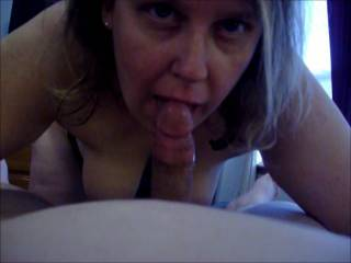 Lupo\'s wife sucking on my cock again while her hubby was at work while we played hookey.  Later, she wanted turn on the web cam and zoig chat, that video is next!