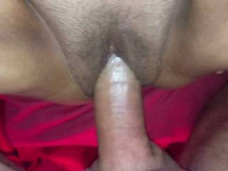 After eating out her tasty pussy I fucked my wife and left my cum inside her tight pussy. 