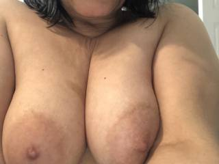 She wants to know who will cum on her tits while I'm