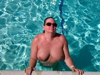 Wife enjoying the pool.