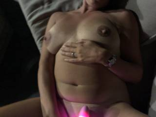 My husband came home to find me toying my pussy and arse in the garden