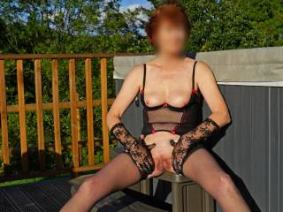 Posing outdoors by the hot tub, any thoughts?