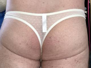 Pretty little white lace g string today!