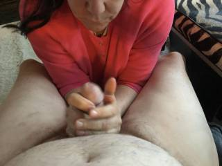 She surprised me and started playing with my cock.   Was not about to argue.   Would you?