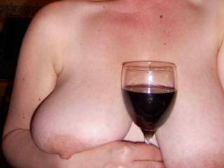 I love red wine and I love your tits. Why don't you dip your nipple into the glass and let me slurp on your tit.
