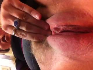 Nice pussy!!! I was hoping to see more of it, without her hand blocking those lucious lips.That is a VERY enticing and cock-hardening cunt! Nice.