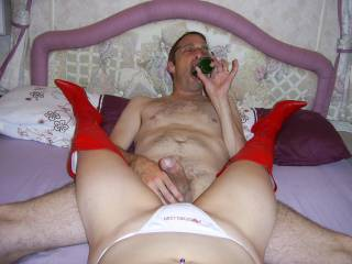 hmmm cock in hand and showing me how to deep throat a bottle before he fucks the hell out of me. It looks like he got it sorted don\'t it?