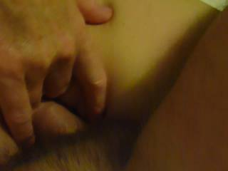 getting fucked playing with my clit and fingering my wet pussy. can you her my wet pussy?  little creampie to finish