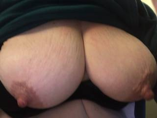 Showing me her big tits and nipples. The become sooo erect when sitmulated!