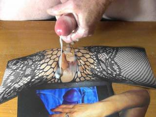 Jerking my throbbing cock and shooting my warm cum load all over nor100\'s dildo fucked tasty pussy as she jerks my cock! Her hot and sticky reward for making me a reverse cum tribute picture!