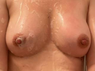 Early morning shower, must have clean tits...never know, I may get a stranger to suck them x