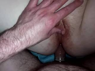 Fucking her tight ass and then glazing her pussy with my cum.