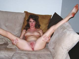 Another spread eagle right before hubby fucked my brains out!!!