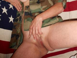 Very sexy in uniform ;) I'd love to use my weapon of mass destruction on that tight pussy!