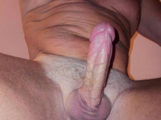 Mmmmm, that's a beautiful shot of your sexy cock and hot body.  Nice.  Ooooo I wanna grabe that cock and eat it all up.  If we were together you would have to fight me from wanting to touch, fondle, lick and suck your cock all the time.  I would want you to walk around the house naked.  K