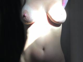 "WoW!!! Too bad the sun is so ""hot"" on her left boob . . . even the sun should not obscure those perfect tits . .  LOL"