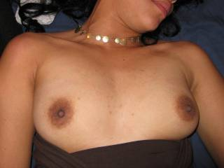 Sweetie you have nice, sexy breasts, and your nipples are hot.  I want to suck on them.