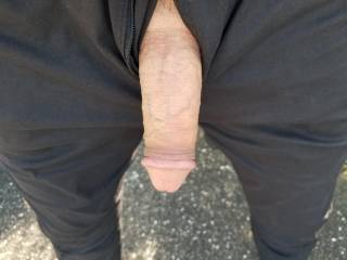Just letting my cock hang out in a deserted parking lot. Wish someone interested/interesting would come look.