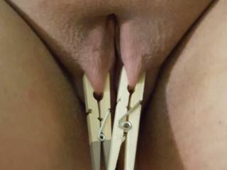 Sir loves how I look with clothespins on my pussy lips. It makes me dripping wet and needy for a good fucking!