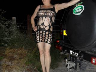 Hi all popped out again for a drive, I wonder if this dress is a little revealing? dirty comments welcome mature couple