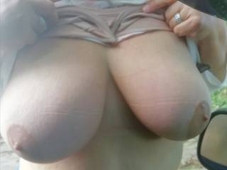 hubby asked me to get out and flash my boobs