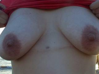 Tits out on the beach