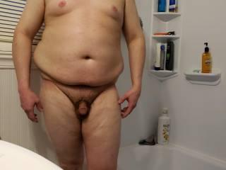chris full body nude in the bathroom