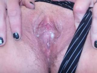 Looks well lubed and ready for my hard cock to fill it up more!
