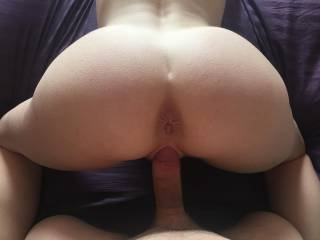 My sexy wife's ass in the air doggy POV.  She was waiting for me to fuck her ass after her pussy