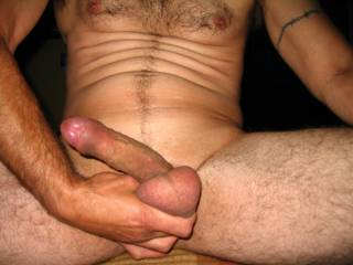 Good one of my cock and balls. I love to have my balls squeezed hard!