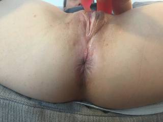 I always cum so hard with my vibrator on my clit. Hubby obviously enjoys the view.