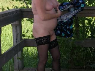Getting dressed after a good fuck outdoors