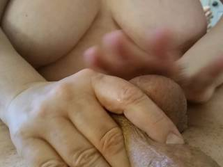 Just massaging those balls before I grab that hard, thick cock of my husband. A woman should always give her man a massage! Watch my massage techniques in my two new videos.