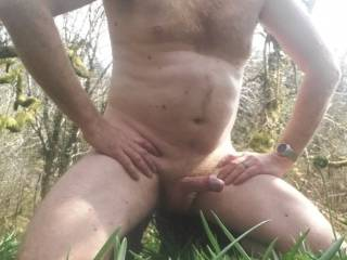 Out for a ride on bike and went into some woods to get naked and walk around playing with my hard cock