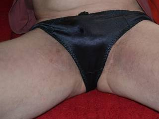 Would you let me lounge wearing this black nylon thong for you?