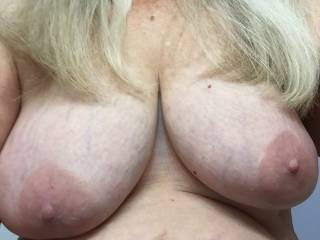 71 yr old wife sent me this im away working God i love her tits
