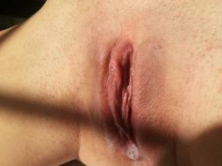 This is my pussy pre sex...not a creampie! He had just finished licking and sucking on my clit which left me flowing like a river.