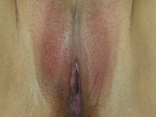 His cum is running out of my pussy and down my ass.