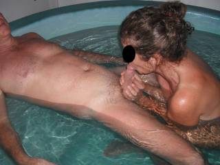 Fun in the spa at home with our swinger friend, when he came around again for a threesome.